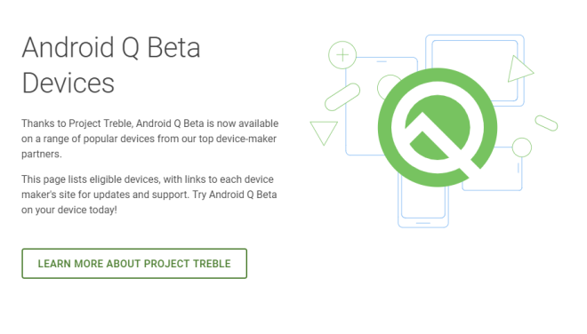 Android Q Beta Supported Devices