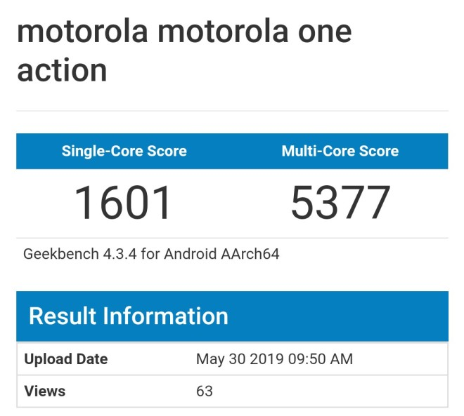 Motorola One Action Antutu Benchmark