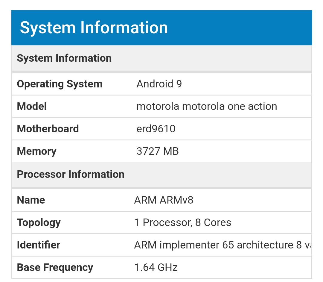 Motorola One Action Antutu Benchmark